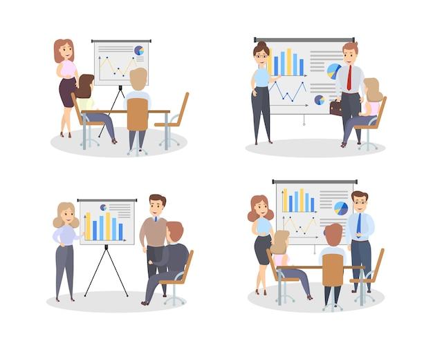 Zestaw tablicy wykresów. ludzie z prezentacjami biznesowymi.