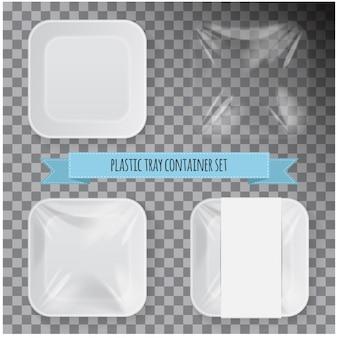 Zestaw tacek na żywność z białego kwadratowego styropianu.
