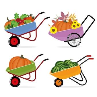 Zestaw taczki z uprawą warzyw, ilustracji wektorowych na białym tle.