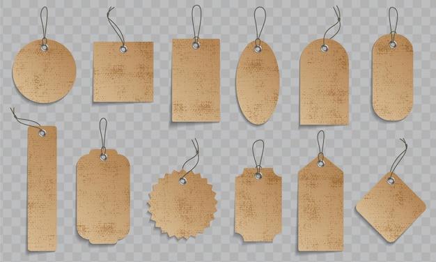 Zestaw tad papieru cenowego. papierowe etykiety cenowe ze sznurkiem.