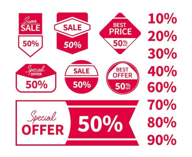 Zestaw tagów cen sprzedaży z tekstem. super wyprzedaż, najlepsza cena, oferta specjalna, najlepsza oferta. wektor płaskie naklejki projekt. modne etykiety do użytku w internecie lub w druku.
