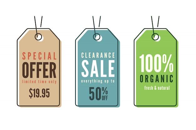 Zestaw tagów ceny sprzedaży sztuki linii