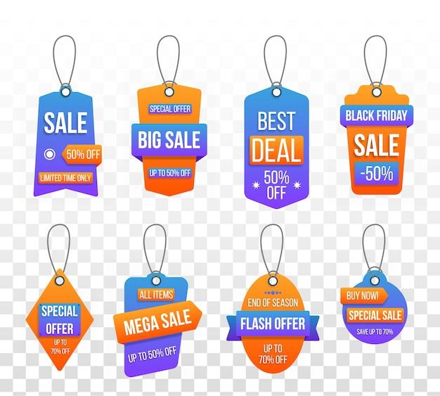 Zestaw tagów duża sprzedaż, etykiety na zakupy szablon na białym tle. rabat, oferta specjalna, czarny piątek. etykiety do projektowania banerów i plakatów. popularna oferta 50% zniżki na szablon odznaki.