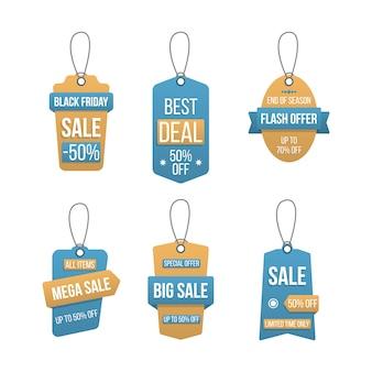 Zestaw tagów duża sprzedaż, etykiety na zakupy szablon na białym tle. rabat, oferta specjalna, czarny piątek. etykiety do projektowania banerów i plakatów. popularna oferta 50% zniżki na szablon znaczka. ilustracja.