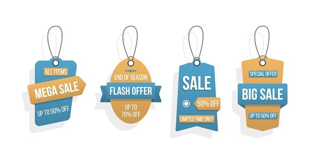 Zestaw tagów duża sprzedaż, szablon etykiety na zakupy. rabat, oferta specjalna
