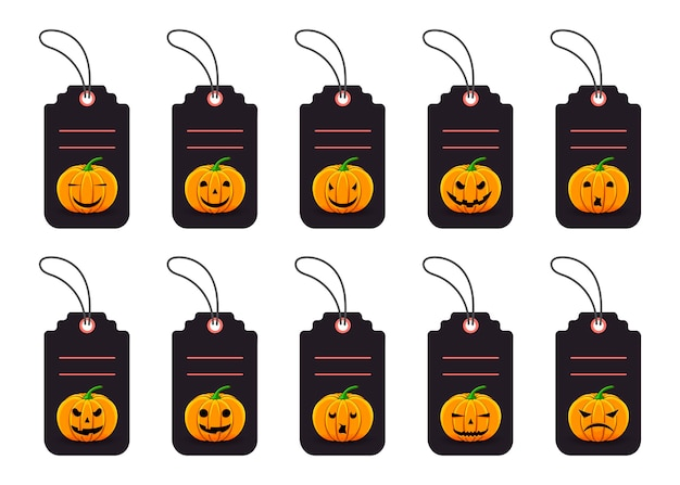 Zestaw tagów halloween dla towarów wakacyjnych na białym tle. styl kreskówki. wektor.