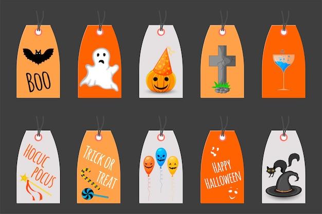 Zestaw tagów halloween na towary wakacyjne