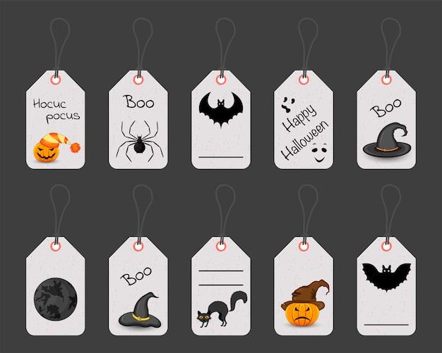 Zestaw tagów lub etykiet halloween. styl kreskówkowy