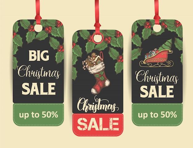 Zestaw tagów lub etykiet świątecznej sprzedaży