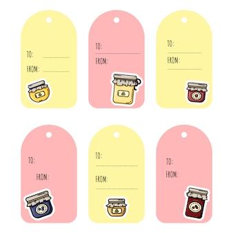 Zestaw tagów prezentowych słoików dżemu. kolekcja etykiet płaskich kolorowych stylów