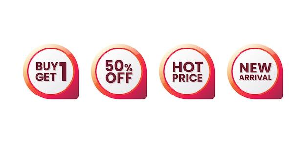 Zestaw tagów promocyjnych sprzedaży, etykieta rabatu na zakupy, ilustracji wektorowych