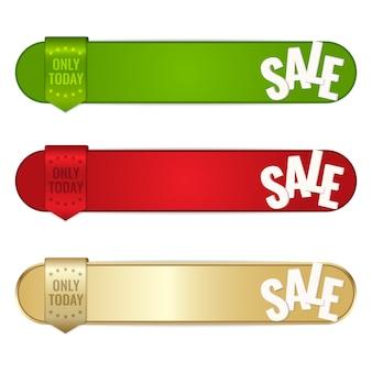 Zestaw tagów sprzedaży, baner zawierający tylko dziś tekst i wstążkę.
