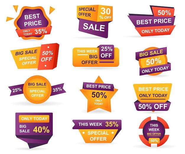 Zestaw tagów sprzedaży detalicznej. naklejki najlepsza cena oferty i duża sprzedaż