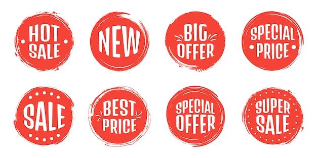 Zestaw tagów sprzedaży. grunge znaczki, odznaki i banery. gwarancja jakości premium, bestseller, najlepszy wybór, sprzedaż, oferta specjalna. banery i naklejki.