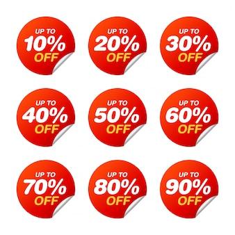 Zestaw tagów sprzedaży. pakiet naklejek z rabatem