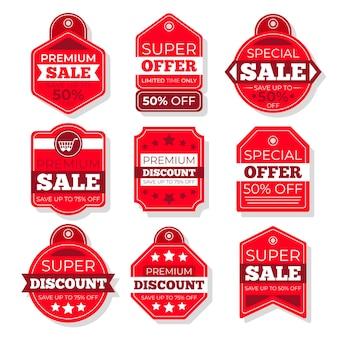Zestaw tagów sprzedaży płaska konstrukcja