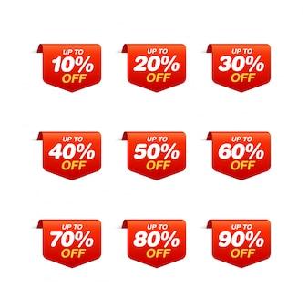 Zestaw tagów sprzedaży. zakładka zniżka pakiet naklejek