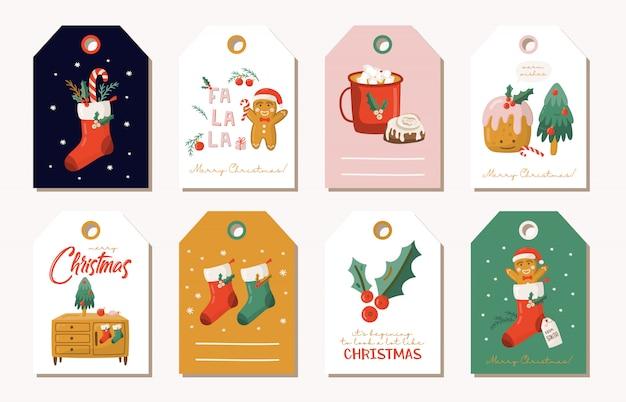 Zestaw tagów świątecznych prezentów.