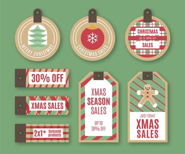 Zestaw tagów vintage sprzedaż świąteczna