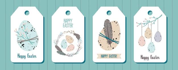 Zestaw tagów wesołych świąt. pisanki, wieniec wierzbowy, gałązki, pióra.