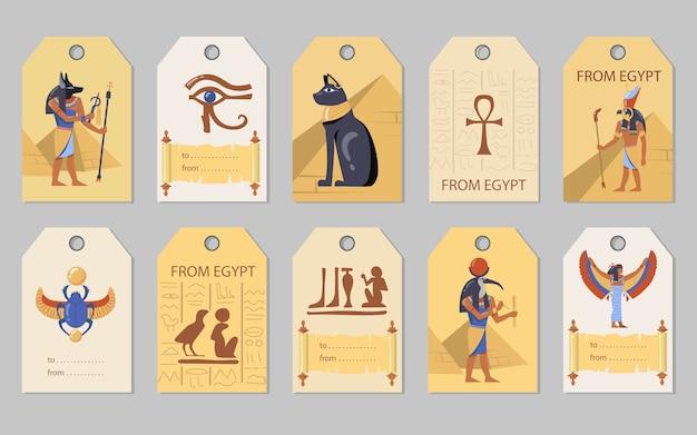 Zestaw tagów z egiptu. egipskie piramidy, koty, bogowie, ilustracje wektorowe skarabeusza z miejscem na tekst. szablony do kartek okolicznościowych, pocztówek, etykiet