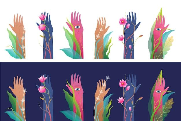 Zestaw tajemniczych surrealistycznych podniesionych rąk, izolowane clip art. fantasy i mistycyzm ręcznie rysowane sztuki