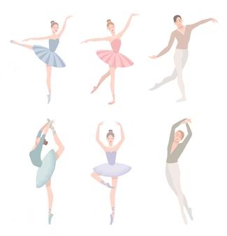 Zestaw tancerz baletu. ilustracja w stylu płaski. dziewczyna i facet w sukience tutu, inna kolekcja pozycji choreograficznych.