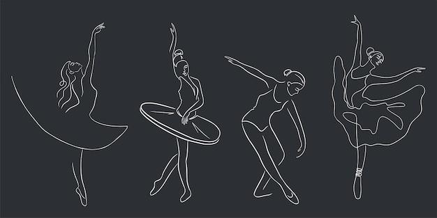 Zestaw tancerzy baletowych. ciągła grafika liniowa. kolekcja balerinek w pełnych wdzięku pozycjach, z pointe butami i tutu. wektor premium