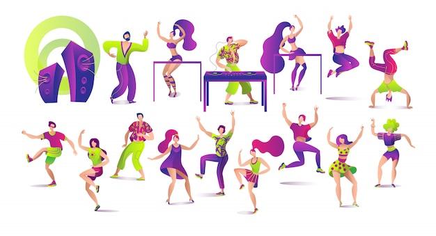 Zestaw tańczących ludzi na białych ilustracjach. młodzi ludzie, dj i taniec, tancerze na planie, zabawni i szczęśliwi. impreza z muzyką dyskotekową w klubie, rozrywka dla nastolatków.