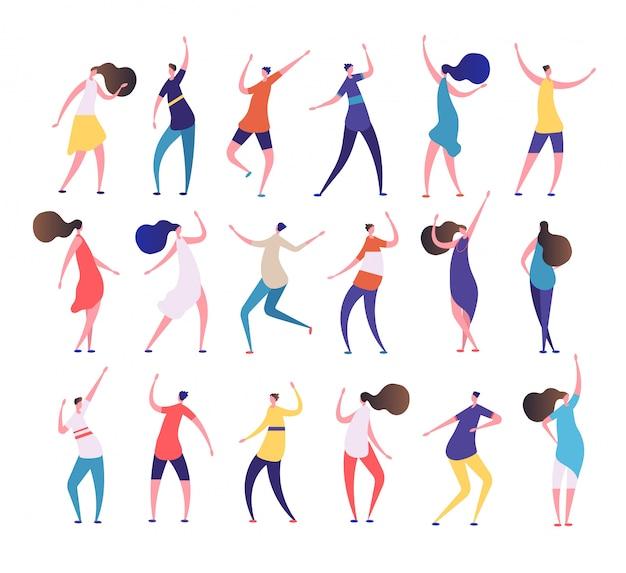Zestaw tańczących ludzi