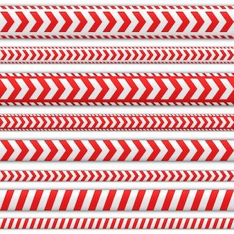 Zestaw taśm bez szwu. wstążki w kolorze czerwonym i białym do oznaczeń kierunków. wskaźnik kierunku lub zwróć uwagę na wymaganej trasie.