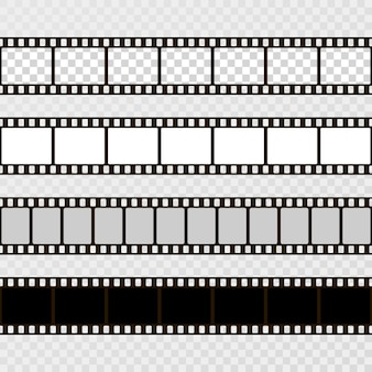 Zestaw taśm filmowych. kolekcja filmów do aparatu. rama kinowa. szablon na przezroczystym tle