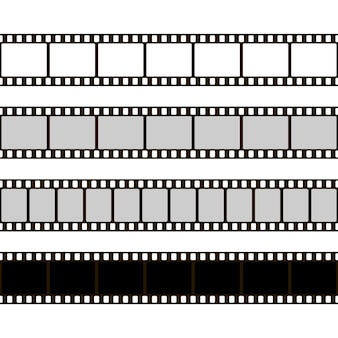 Zestaw taśm filmowych. kolekcja filmów do aparatu. rama kinowa. szablon negatywu na białym tle