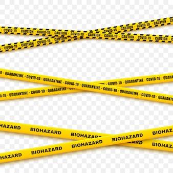 Zestaw taśm kryminalnych do stref restrykcyjnych i niebezpiecznych. ostrzeżenie o linii bezpieczeństwa.
