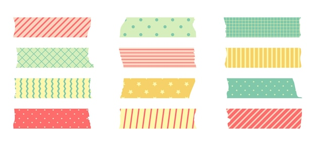 Zestaw taśm maskujących washi. śliczna naklejka z papieru szkockiego do notatnika. zestaw taśm w stylu japońskim z wstążką, elementem dekoracyjnym w kropki.