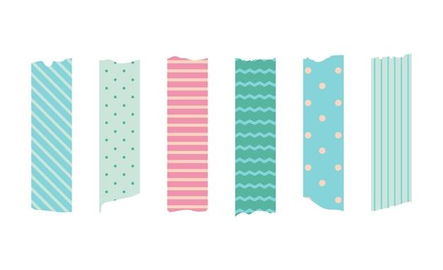 Zestaw taśm maskujących washi. śliczna naklejka z papieru szkockiego do notatnika. zestaw taśm w stylu japońskim ze wstążką, elementem dekoracyjnym w kropki.