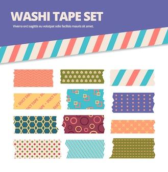 Zestaw taśm washi. naklejki w japońskie paski z kolorowym oryginalnym maswerkiem, ozdobne wstążki w uroczym różowym, zielonym, niebieskim materiale origami, scrapbooking.