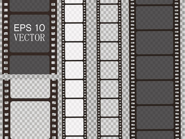 Zestaw taśmy filmowej na białym tle