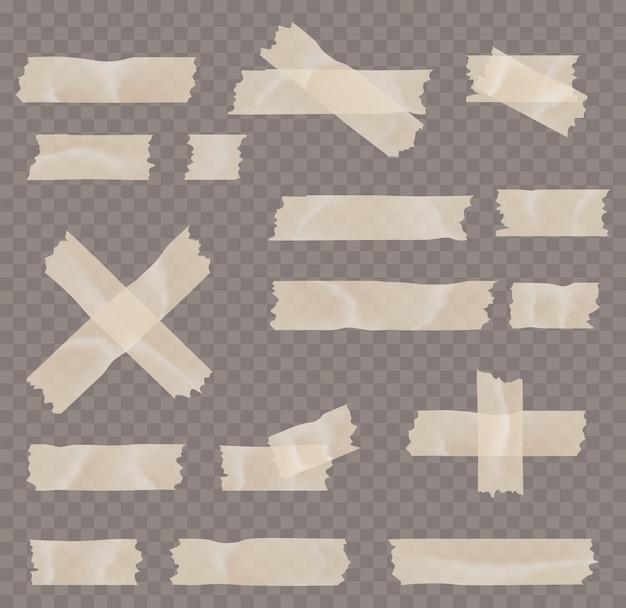 Zestaw taśmy klejącej lub maskującej na białym tle na przezroczystym tle. taśmy samoprzylepne, lepkie, maskujące i tekstowe są na kwadracie.