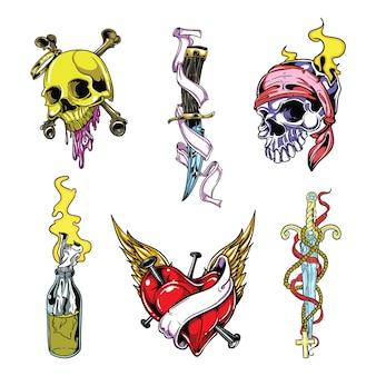 Zestaw tatuaż wektor