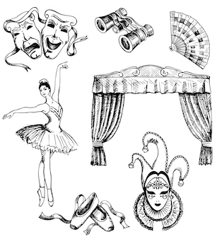 Zestaw teatralny ręcznie rysowane tuszem