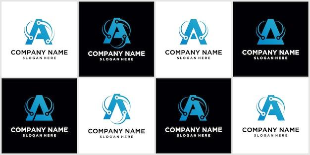 Zestaw Tech Letter A Logo Letter A Szablon Projektu Logo Ikona Logo Technologii Premium Wektorów
