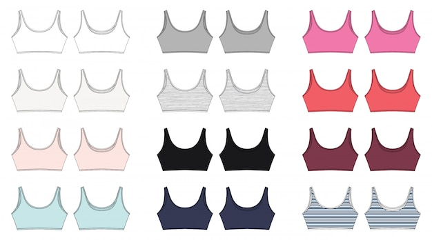 Zestaw techniczny szkic stanika dla dziewcząt na białym tle. projekt bielizny do jogi.
