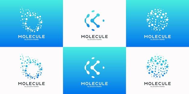 Zestaw technologii glob logo z koncepcją cząsteczki. kolekcja projektowania logo streszczenie świata tech.