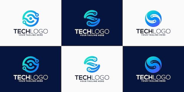 Zestaw technologii logo gradientu litery s