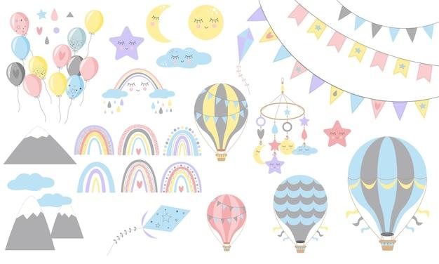 Zestaw tęcze z sercami, chmurami, deszczem, balonami powietrznymi, w dziecinnym stylu skandynawskim na białym tle. idealne dla dzieci, plakatów, nadruków, kart, tkanin.