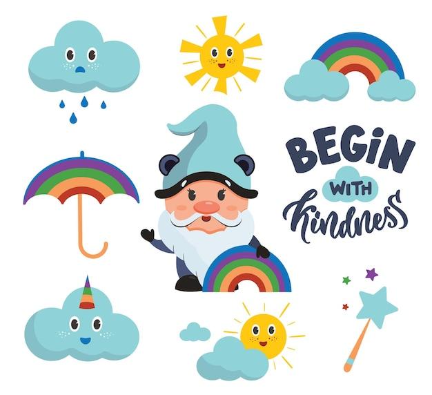 Zestaw tęczowych naklejek z chmurą tekstu gnome i słońcem kolekcja zabawnych postaci