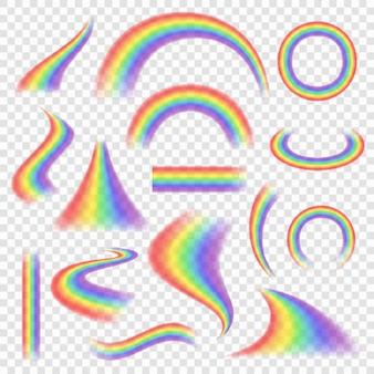 Zestaw tęczy. kolorowe obiekty pogodowe widma łuk tęcza wektor realistyczne zdjęcia. tęcza przezroczysta, ilustracja zestawu naturalnych dekoracji widma