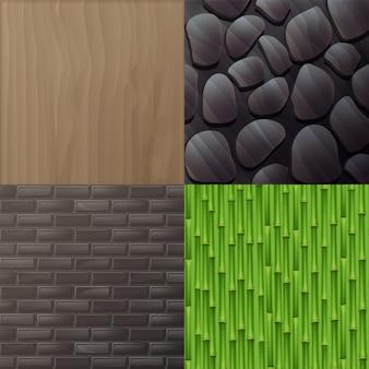 Zestaw tekstur do wnętrz w stylu eko-minimalistycznym: drewno, szara cegła, zielony bambus i kamienna ściana
