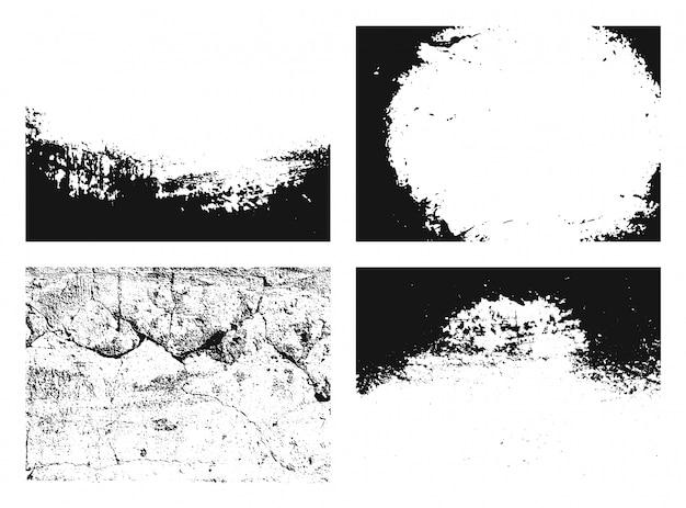 Zestaw tekstur grunge. zbiór różnych czarno-białych środowisk miejskich z ziarna, zadrapania, ściany. zasłona.